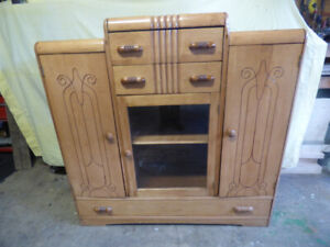 antique art deco kitchen or dining hutch cabinet