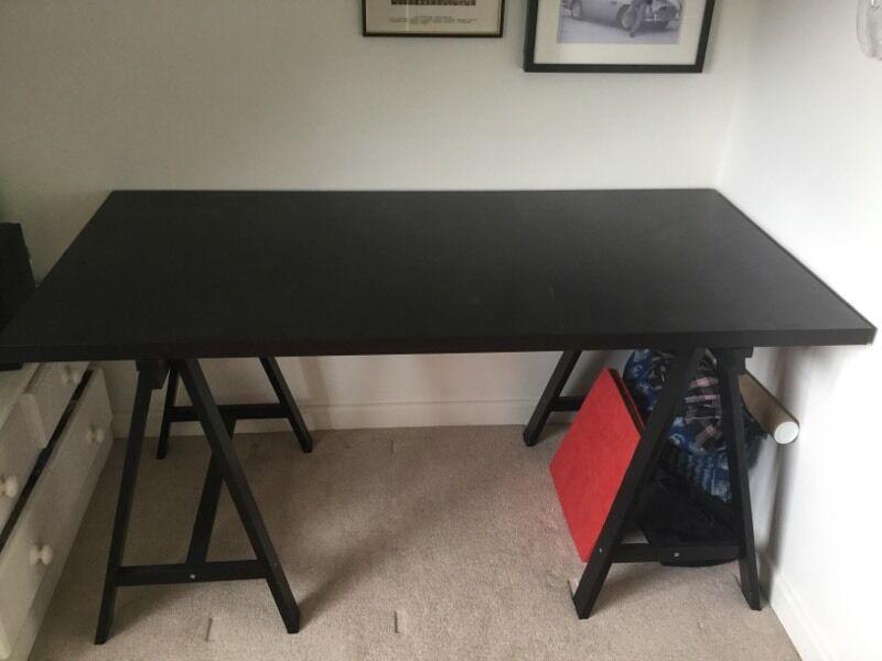 Ikea Linnmon Desk Top Dark Brown Black And Oddvald Trestle A Frame  IKEA linnmon desk top dark brown / black and oddvald trestle a-frame ...