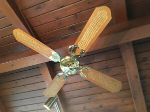 Two Vintage Ceiling Fans, Brass/Wood/Caning