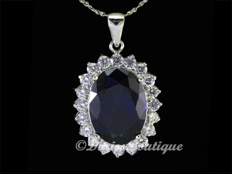 Mysterious sapphire blue oval 925 sterling silver cz for Z s fine jewelry
