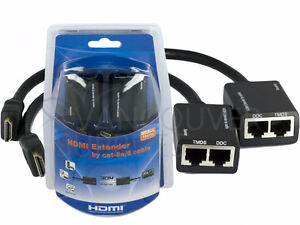 HDMI Cable Extender by Cat-5e Cat6 Lan Network Cable up to 30 Me