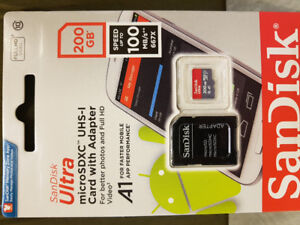 200GB SanDisk Micro SD card. Massive Storage. New never used!