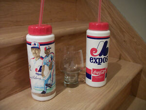 EXPOS baseball beer glass and 2 sports water bottles 15$