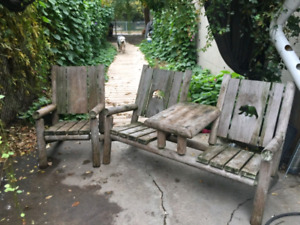 White Pine Bench Set with Chair
