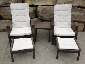 Outdoor rattan lounger set