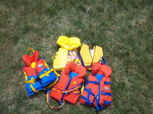 life jackets adults and children various sizes