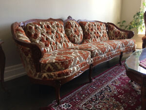 French Provincial sofa set with coffee and end tables