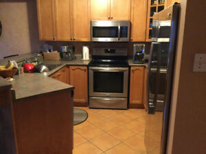 Kitchen cabinets, appliances, dinete set and bar stools for sale