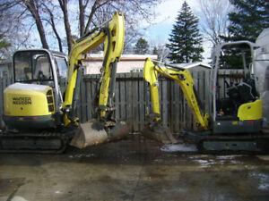 Excavatrice et mini excavatrice avec opérateur