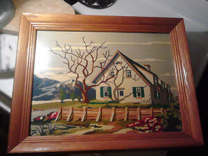 2 hand painted boat and housepaintings with a oak frame...size i