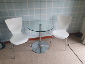 Glass table.with x2 chairs