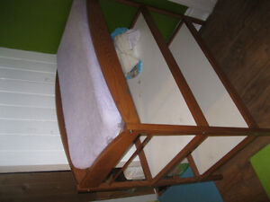 Solid Oak Change Table WITH Changing pad AND Linens