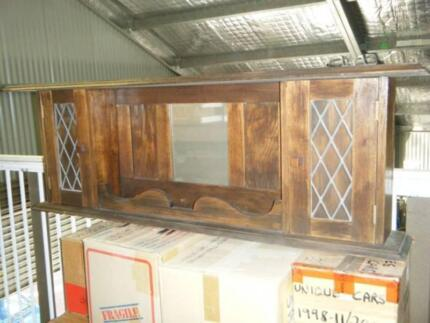 OLD ANTIQUE CHIMNEY PIECE FIREPLACE MANTLEPIECE LEADED GLASS.
