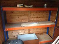 Metal framed shelving systems. Garage or shed.