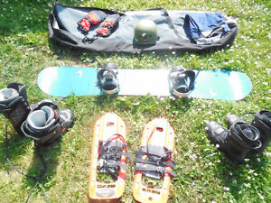 SNOWBOARD Boots x2 BINDINGS Carry bag GLOVES Helmet SNOWSHOES