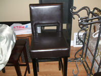 2 Pub Chairs 1 leather and 1 solid wood ( (Brand New)