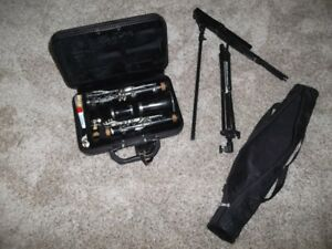 clarinet with case and music stand