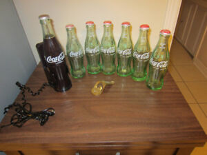 COKE Collectibles;  Phone, Bottles, Caps, and Brass Opener