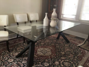 Lovely Glass Solid Wood Trestle Style Dining Room Table -Mint