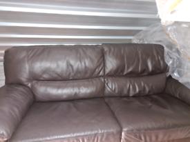 Three Seater Brown Leather Sofa.