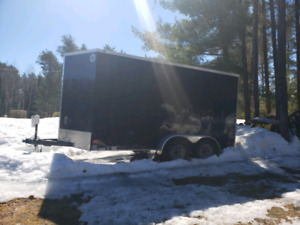 2018 Wells cargo 7x14 + V-nose double axle trailer. Extra height