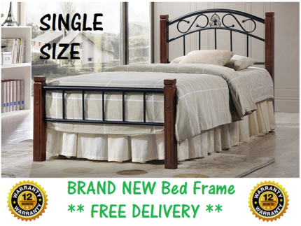 Brand New SINGLE Size Timber and Iron Bed Frame FREE DELIVERY