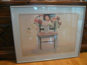 LARGE ATTRACTIVELY FRAMED PASTEL STILL ART WALL HANGING...