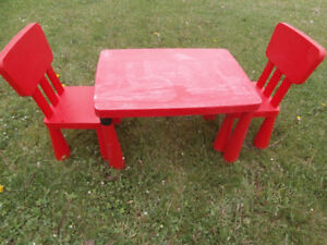 2 chaises ikea rouge