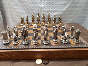 Beautiful Chess Set with Metal Napoleonic Pieces