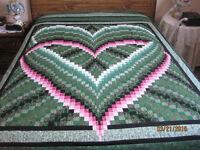 New Queen size Heart Bargello Quilt