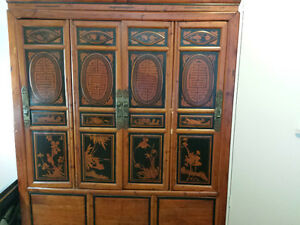 Original engraved wood armoire