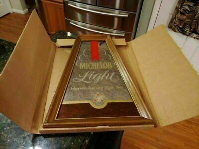 MICHELOB LIGHT BEER WOOD MIRROR SIGN ADVERTISING VINTAGE DISPLAY MAN CAVE w/ BOX