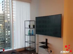 Installation TV au mur - branchement cinéma maison -  filage