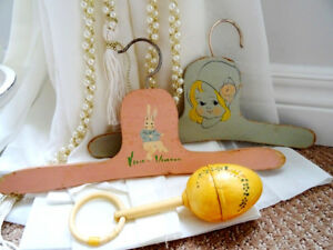ART DECO child's hangers & baby CELLULOID rattle ADORABLE 1927