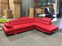 RED Leather Sectional Sofa/Divan! Brand NEW