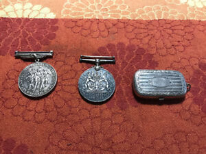 2 STERLING SILVER WWII WW2 MEDALS & VICTORIAN SILVER COIN CASE