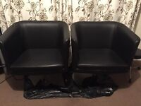 2 x Black Faux Leather Swivel Tub Chairs