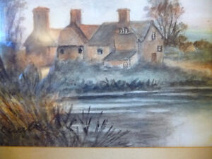 """Original Watercolor """"Village In The Country"""", Carrie Walker 1935 Stratford Kitchener Area image 8"""