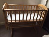 John Lewis Swinging Crib & New Mattress