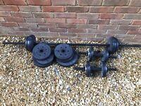 Pro Fitness Vinyl Barbell Dumbbell Set - 25kg