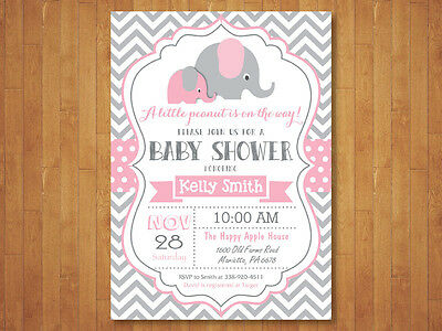 Elephant Baby Shower Invitation. Girl. Pink and Gray Chevron. Printable Digital. (Pink Gray Elephant Baby Shower)