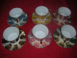 Set of Six Windsor China Teacups & Saucers- Mint Condition