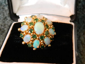 Stunning One of a kind Opal and Emerald Ring