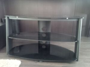"""42"""" TV Stand with Black Glass Shelves"""