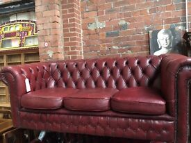 Oxblood Red Chesterfield Leather 3 Seater sofa - UK Delivery