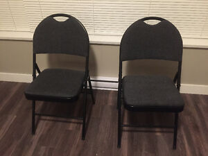 2 GSC Deluxe Black Fabric Folding Chairs