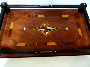 late 19thC WOOD GALLERY TRAY star inlay bone MOORISH Persian Oakville / Halton Region Toronto (GTA) image 9