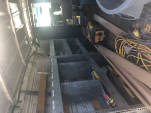 Roof rack and steel cabinets for van