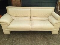 "Ivory flaux leather large two seater sofa £50 ""free local delivery """