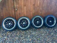 "Audi 18"" Alloy Wheels, Alloys and Tyres Black & Chrome"